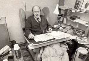 Roald Dahl in his shed